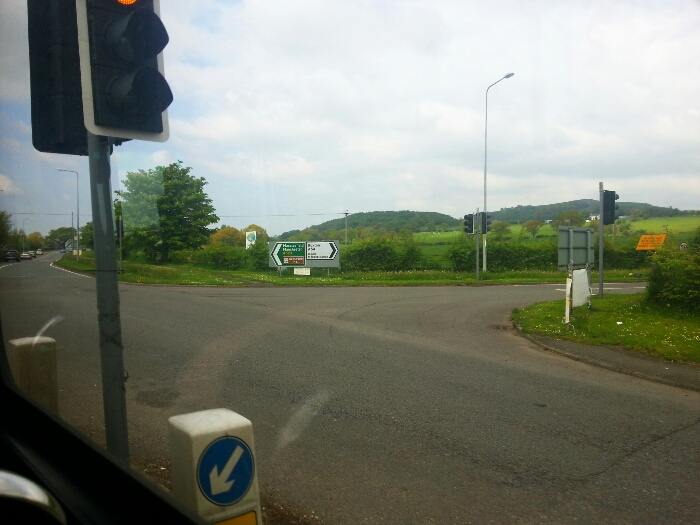 Crossing the A54 at Bosley Crossroads