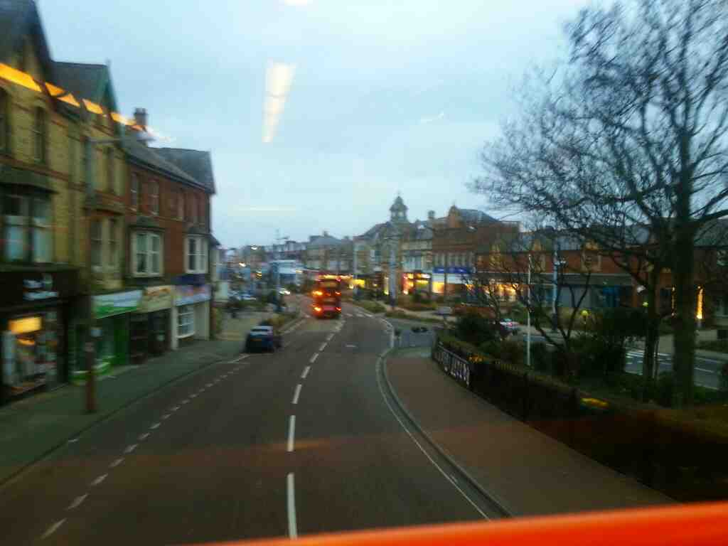 Dropping down into the centre of St Annes after crossing the railway on a 68 bus
