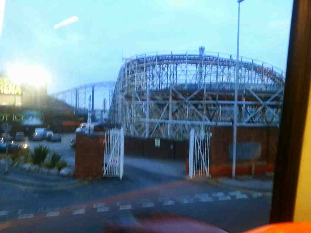 Passes Blackpool Pleasure Beach on a 68 bus good view of rollercoasters