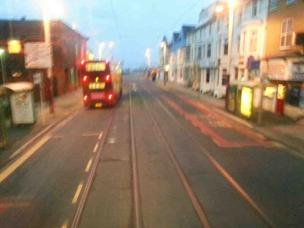 Tram lines on Lytham Rd Blackpool off a 68 bus