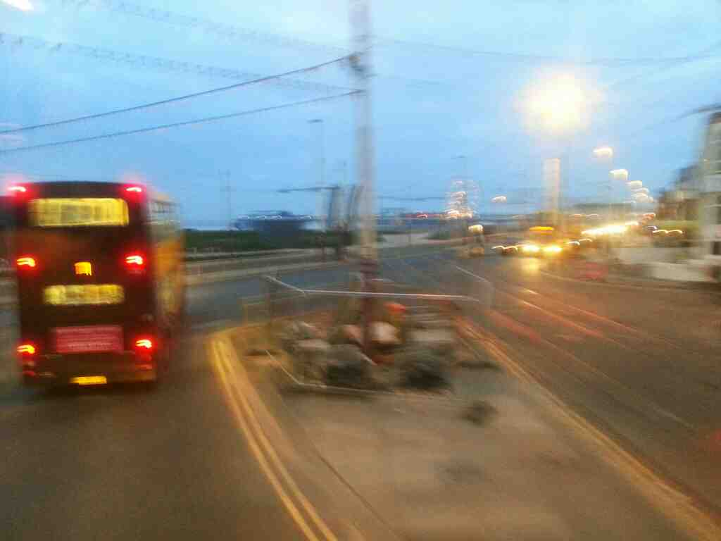 Junction of Lytham Rd and Promanade Blackpool sea front on a 68 bus