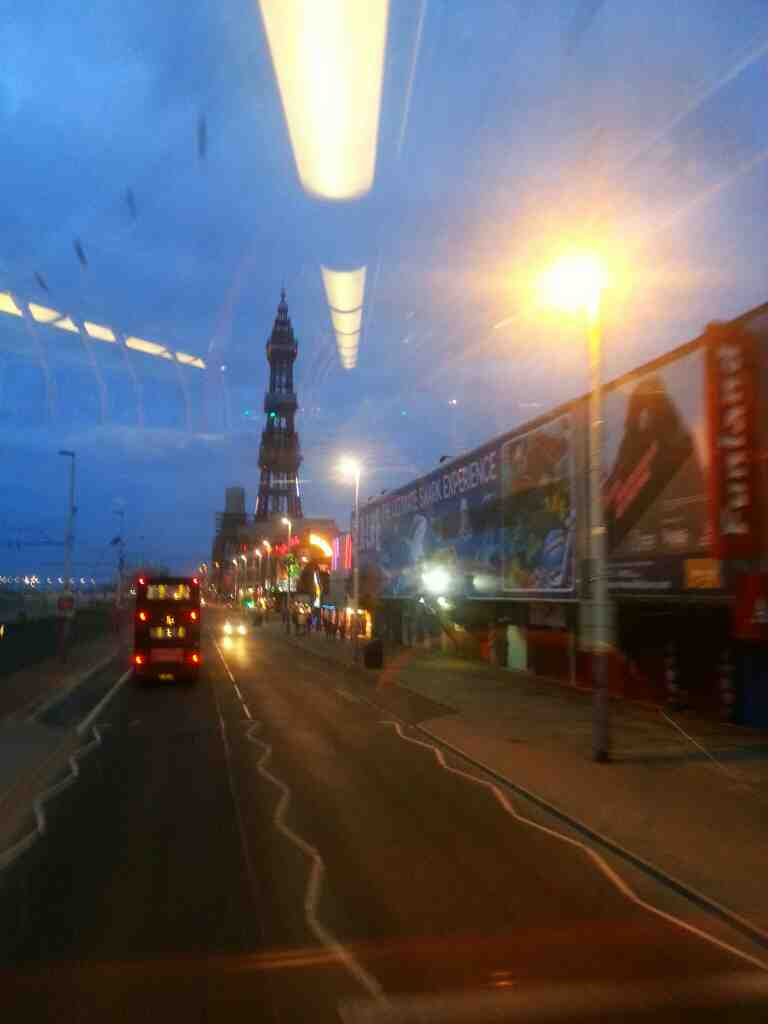 Passing funland amusement arcade and the sea life centre Blackpool on a 68 bus Blackpool Tower now looms large