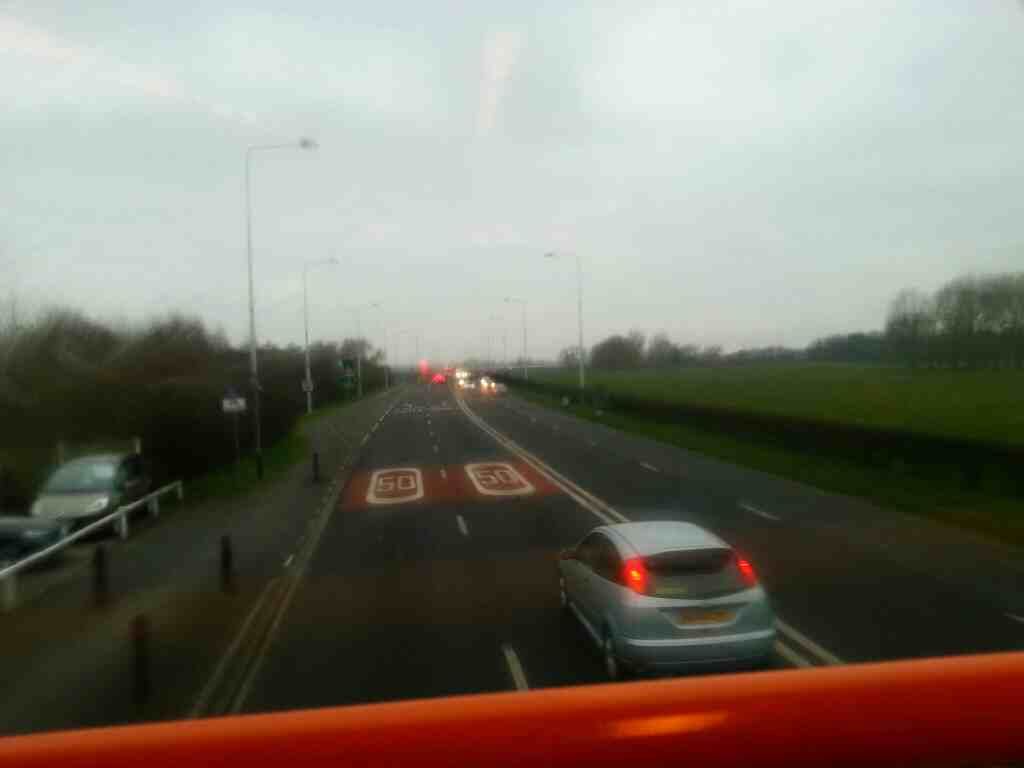 The A583 Blackpool road as seen from the top deck of a 68 bus