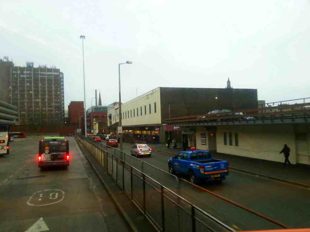 Running alongside Tithebarn St on a 68 bus in Preston bus station