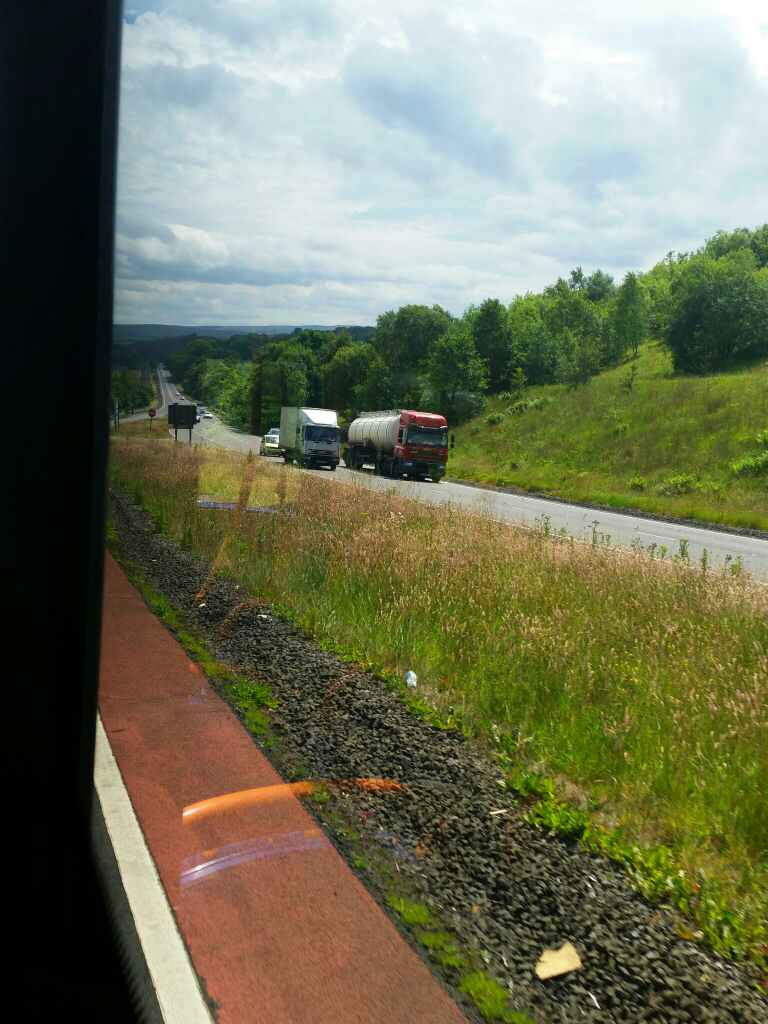 View of the A69 as we drop into the South Tyne valley on a 685 Carlisle Newcastle bus