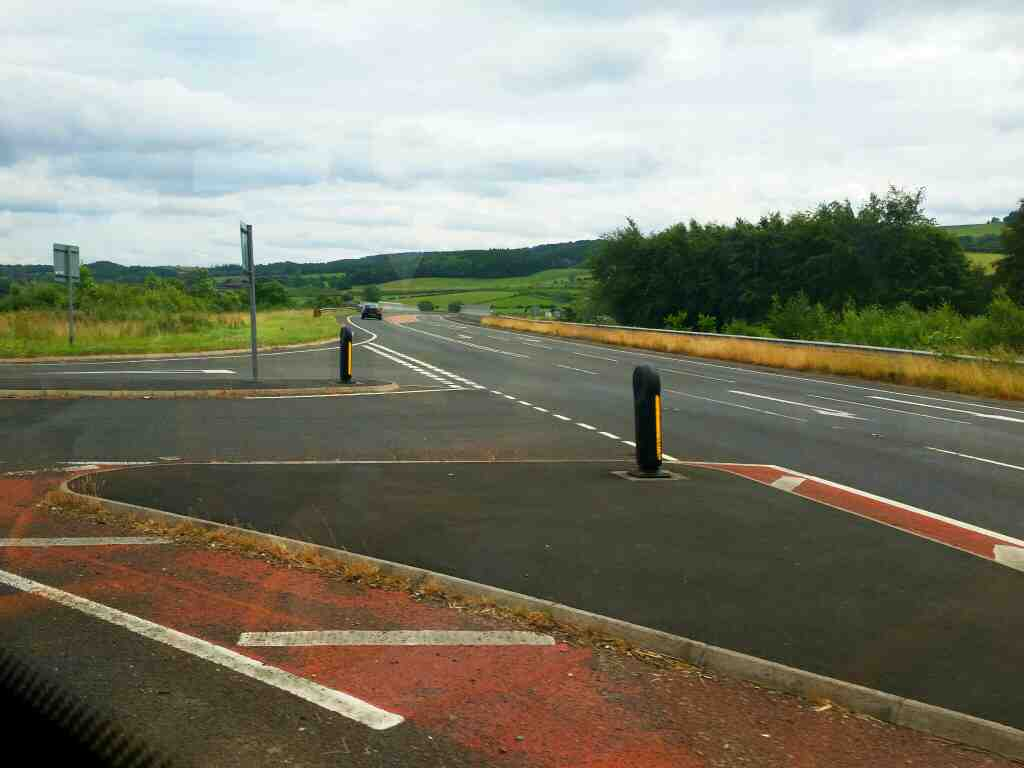 Junction of the A69 and the B6319 Haydon Bridge on a 685 Carlisle Newcastle bus