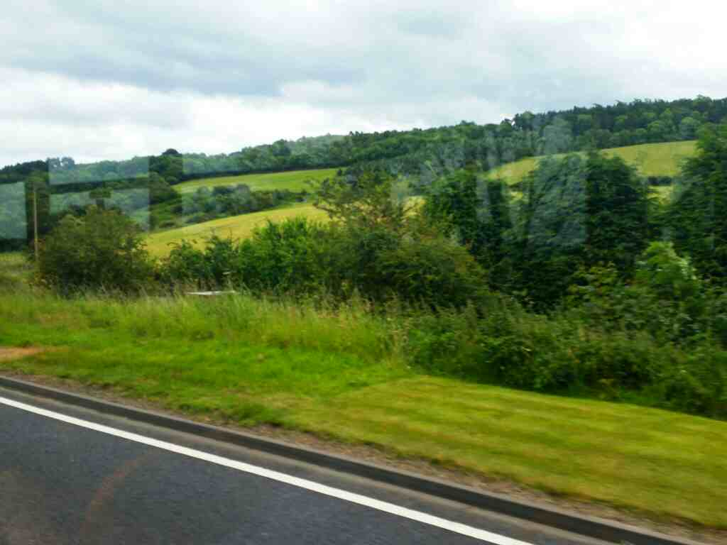 The A69 west of Hexham on a 685 Carlisle Newcastle bus