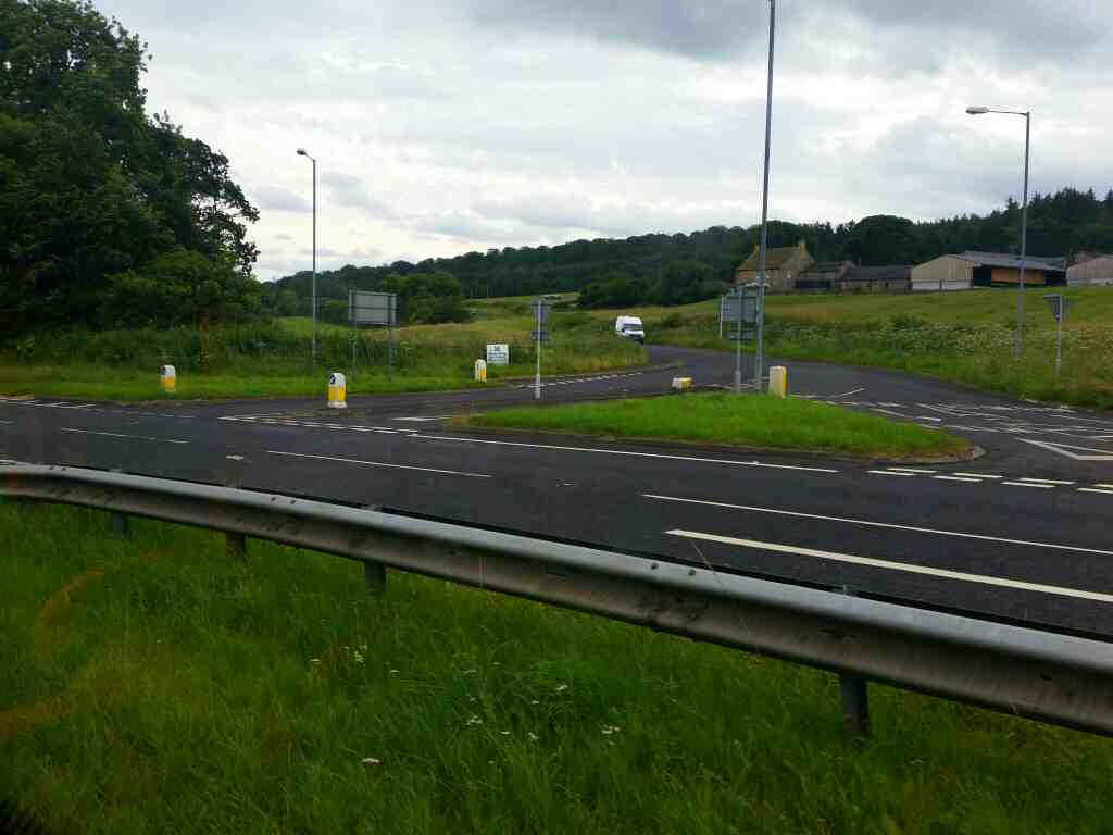 Junction of the B6531 and the A69 Hexham on a 685 Carlisle Newcastle bus