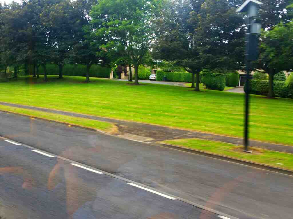 Shaws Park from the B6531 on a 685 Carlisle Newcastle bus