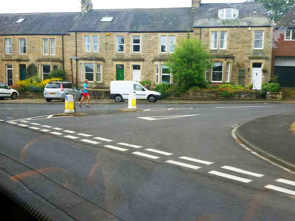 Junction of Leazes Lane and the B6531 Hexham on a 685 Carlisle Newcastle bus