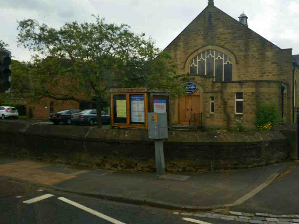 Passes West End Methodist Church Hexham on a 685 Carlisle Newcastle bus