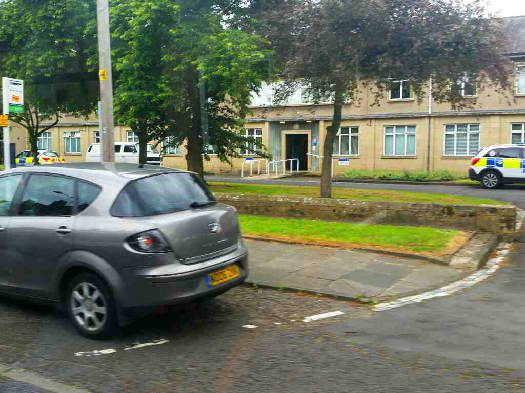 Passes Hexham Police Station on a 685 Carlisle Newcastle bus