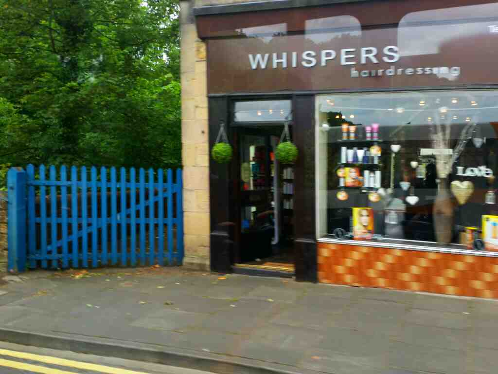 Passes Whispers Hairdressers Hexham on a 685 Carlisle Newcastle bus