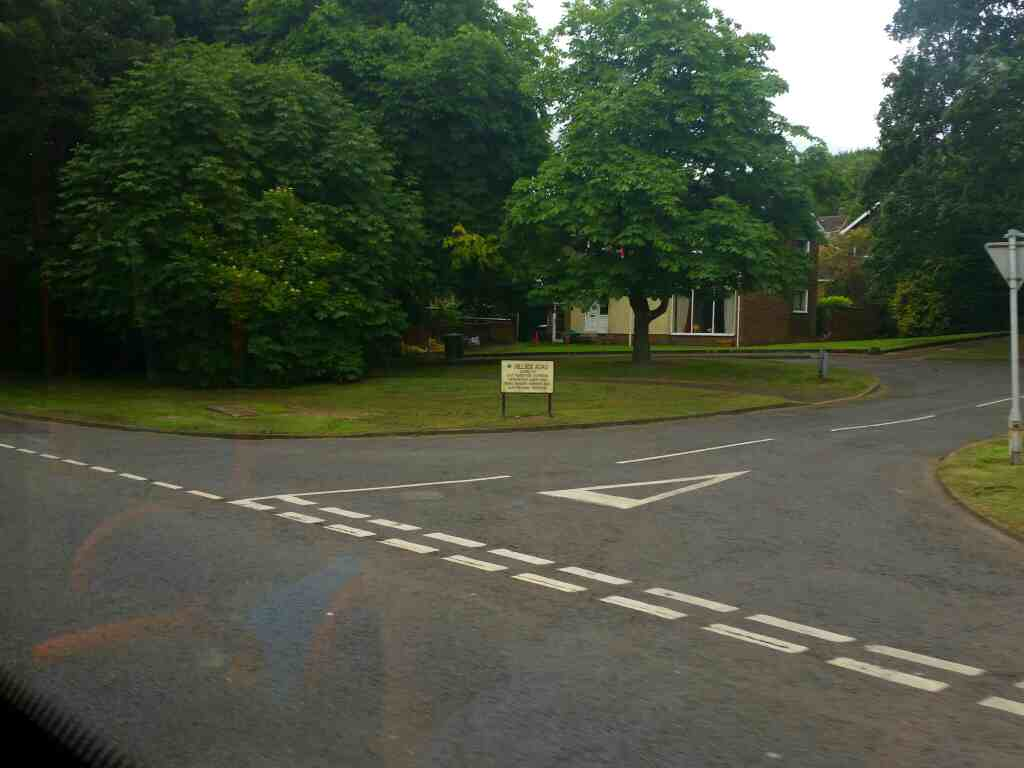 Junction of Hillside Rd and the A695 Hexham on a 685 Carlisle Newcastle bus