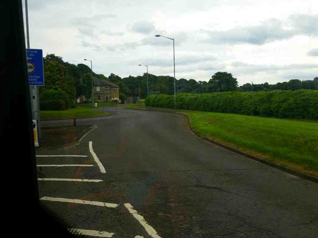 Junction of the B6321 and the B6529 Corbridge on a 685 Carlisle Newcastle bus