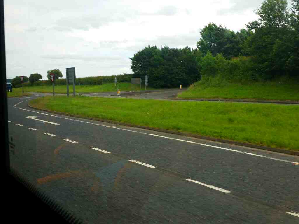 Junction of the B6309 signed Bywell and Stocksfield and the A69 on a 685 Carlisle Newcastle bus