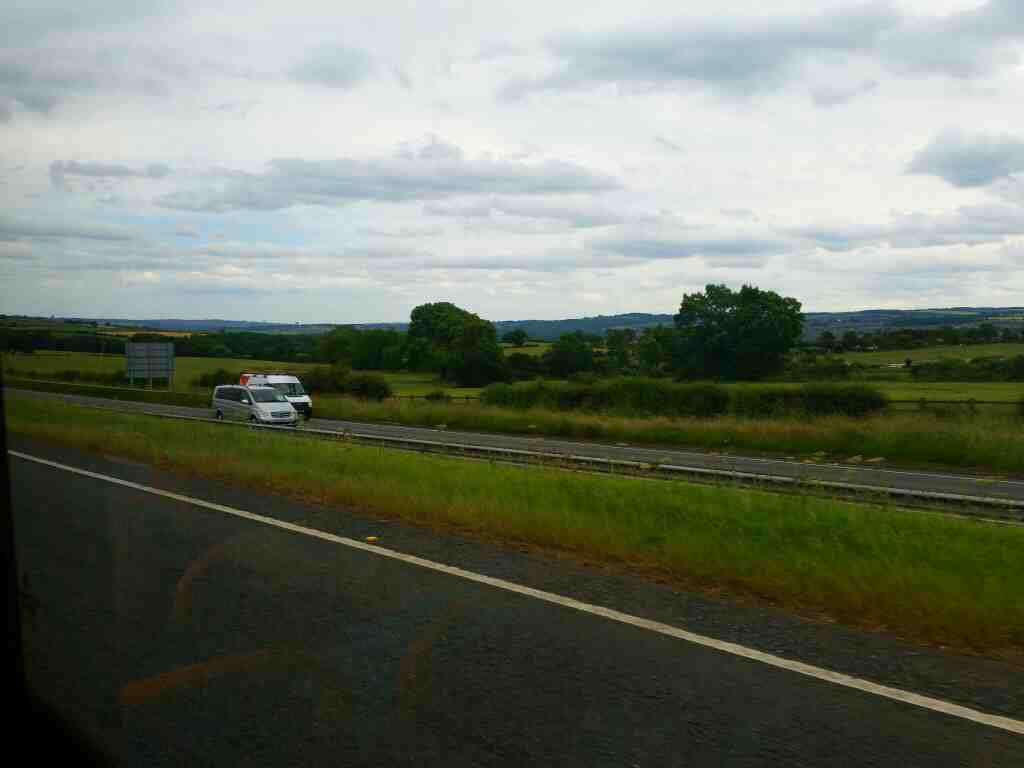 Traveling along the A69 on a 685 Carlisle Newcastle bus