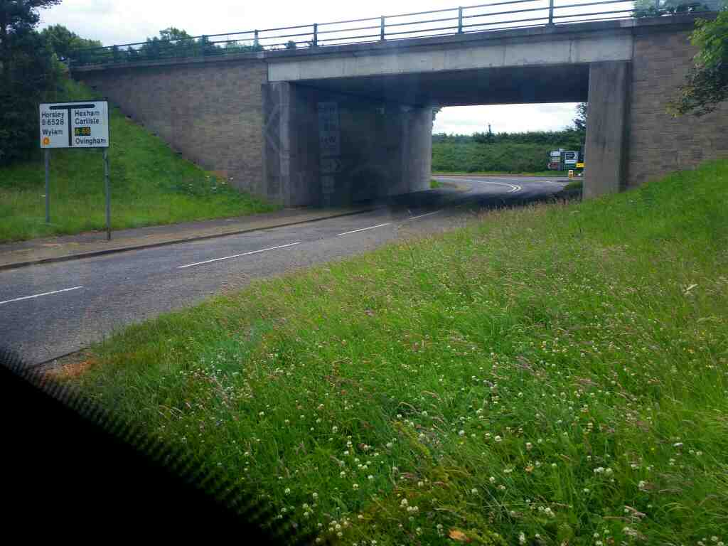 Junction of the A69 and Oatens Bank on a 685 Carlisle Newcastle bus