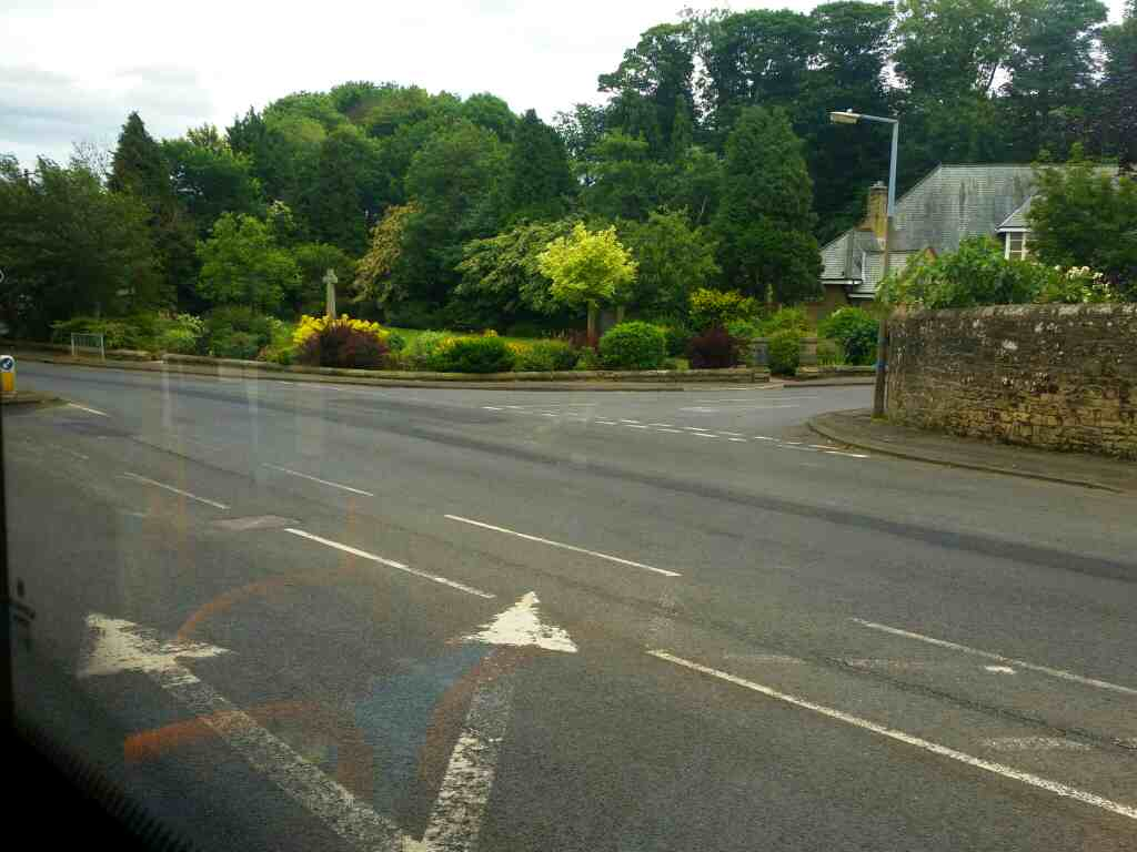 junction of The Towne Gate and Hexham Rd Heddon On The Wall on a 685 Carlisle Newcastle bus