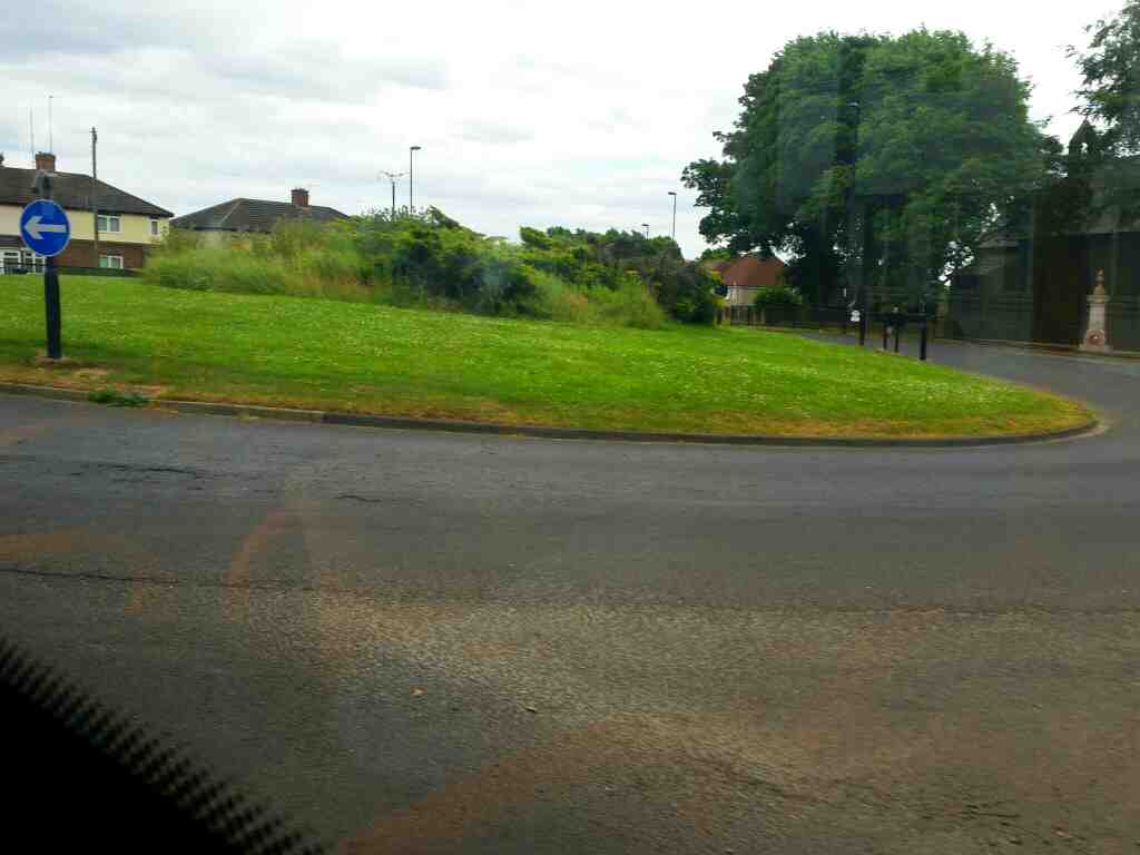 Roundabout at the Junction of Ponteland Road Newburn Road and Hexham Rd Throckley on a 685 Carlisle Newcastle bus