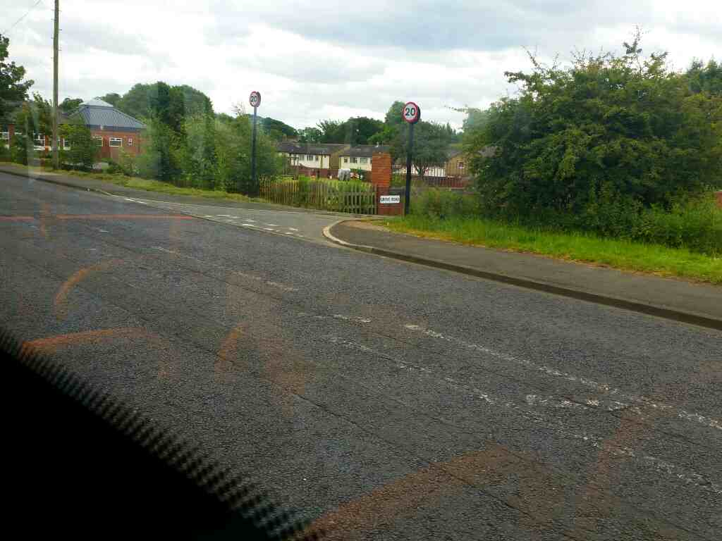 Junction of Grove Rd and Hawthorne Terrace Walbottle on a 685 Carlisle Newcastle bus
