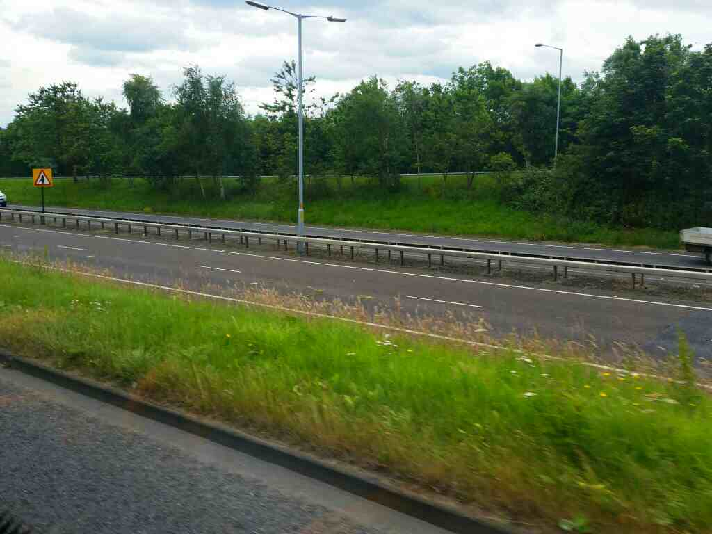 Sliproad on to the A69 next to the Roman Way on a 685 Carlisle Newcastle bus