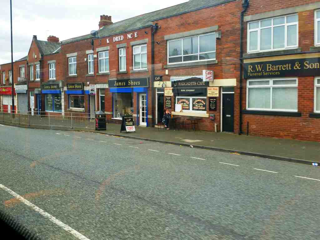 Passes Margarets Cafe West Road Newcastle on a 685 Carlisle Newcastle bus