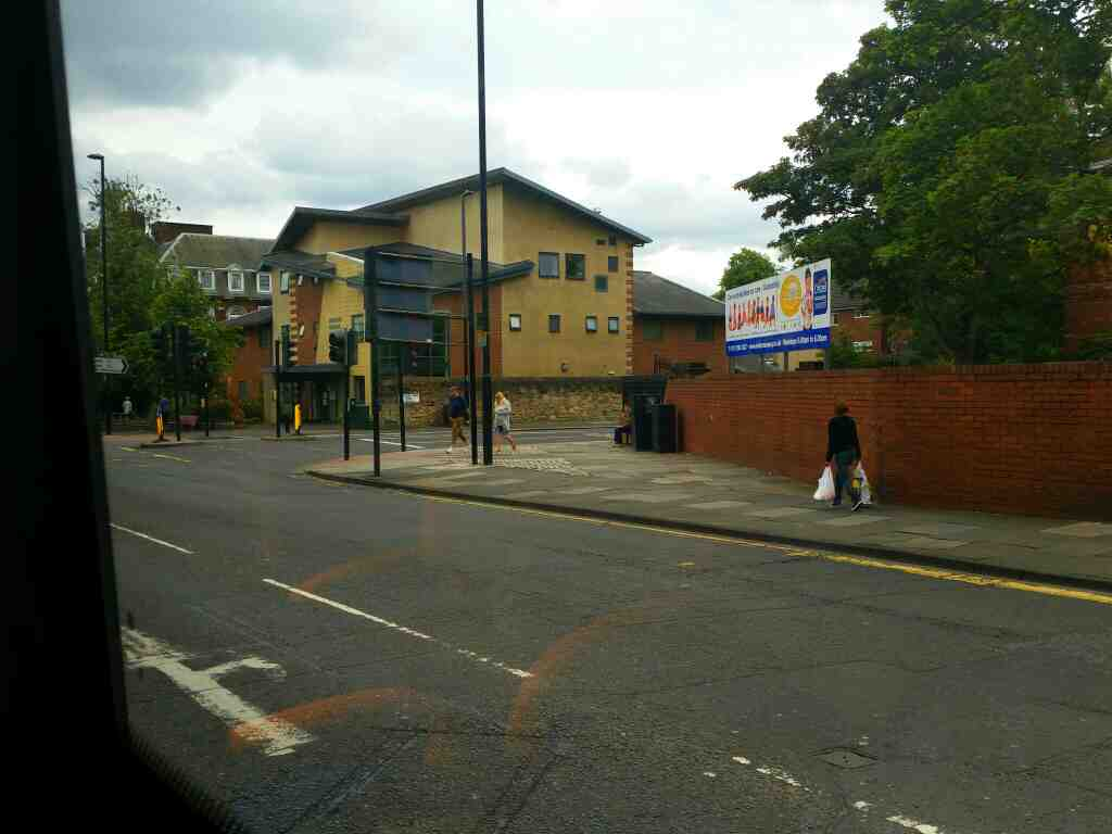 Junction of Grainger Park Rd and Westgate Road Newcastle West End on a 685 Carlisle Newcastle bus