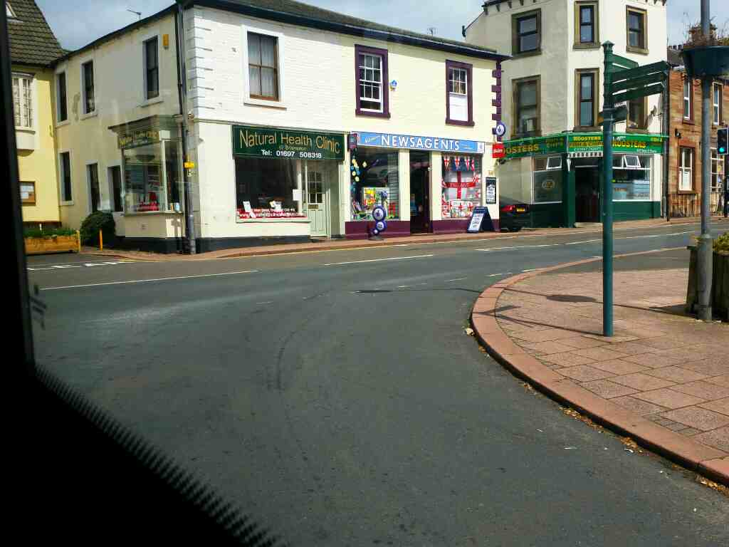 Passes Roosters Fish and Chip Shop Junction of High Cross St and Main St Brampton on a 685 Carlisle Newcastle