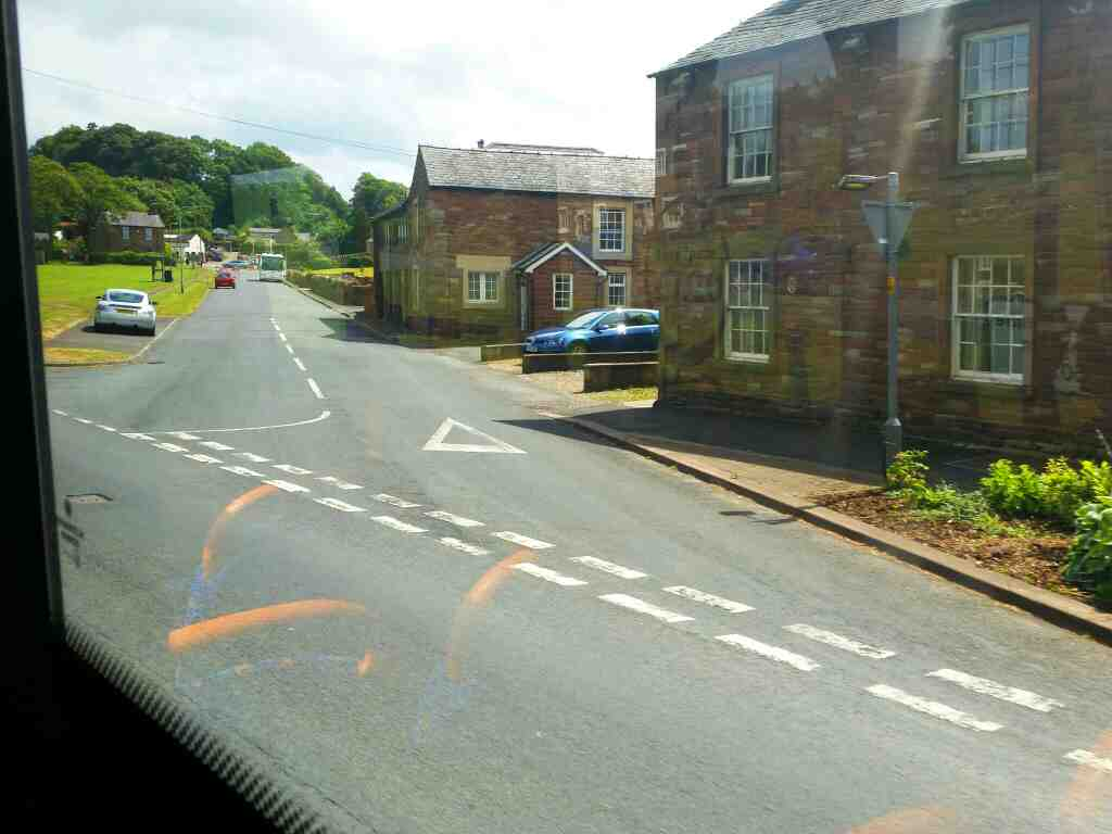 Junction of Station Rd and the A6071 The Sands Bramptom on a 685 Carlisle Newcastle