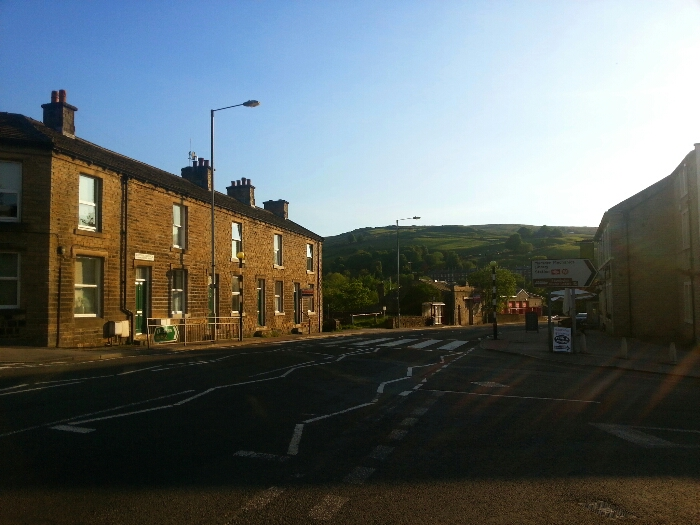 Looking back along the A62 towards Standedge in Marsden