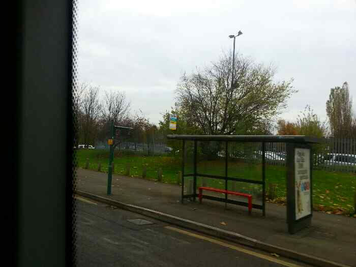 A bus stop on London Rd Derby