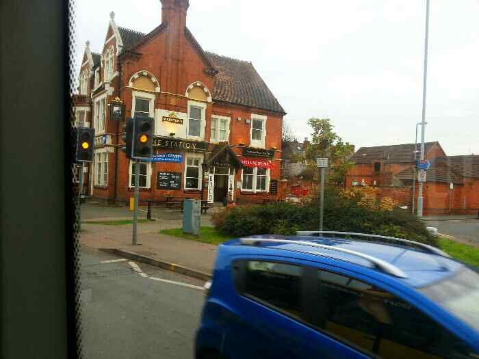 Passes the Station Hotel Derby Rd Loughborough Skylink bus