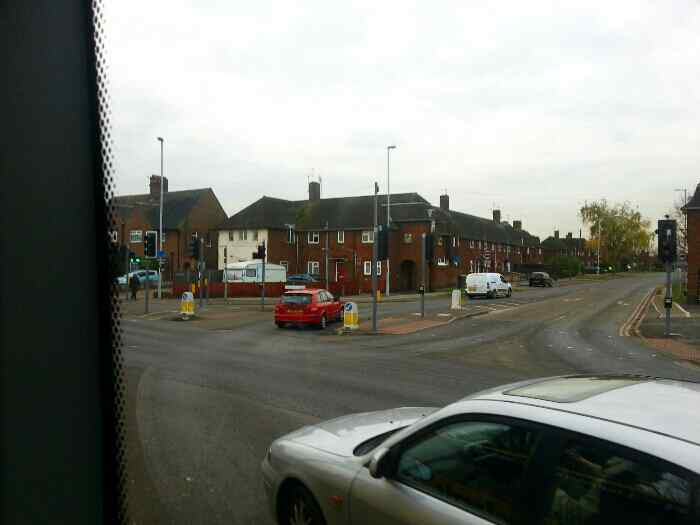 Passing the junction of Leicester Rd the A6 and Shelthorpe Rd Loughborough on a Skylink bus