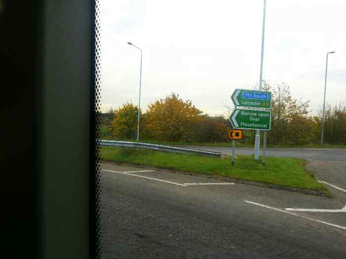 Heading onto the Quorn, Mountsorrel, Rothley Bypass�A6 on a Skylink bus