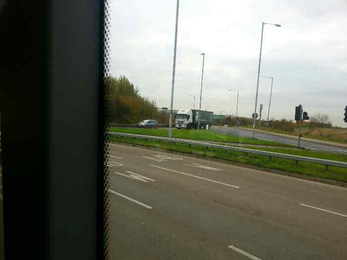 Approaching the roundabout at the end of the Quorn bypass A6 where the A46 is crossed