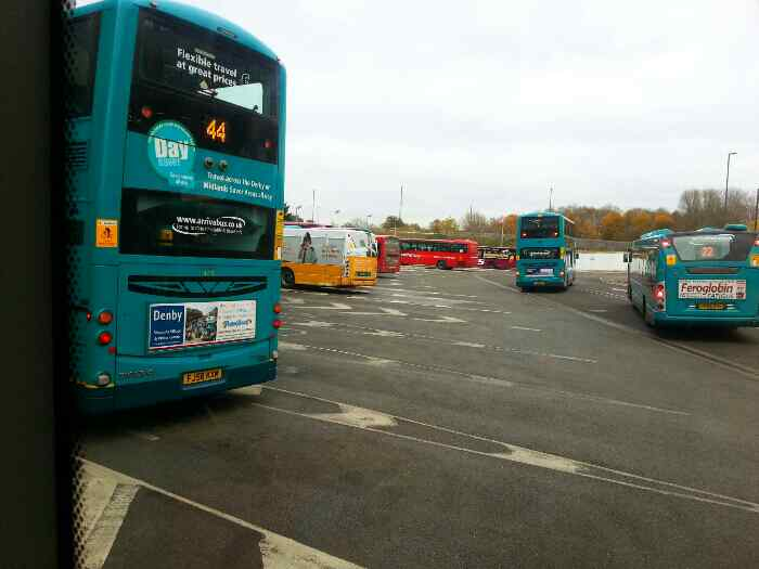 Backing off our Stand Derby Bus Station we can see a 44 bus amongst others including a Red arrow bound for Chesterfield