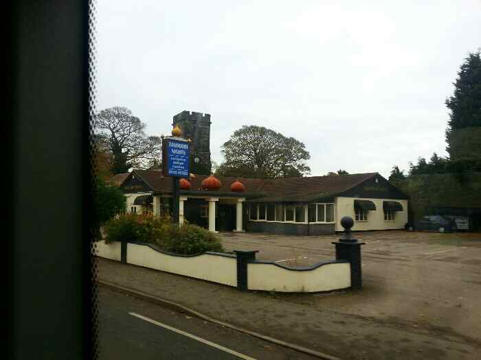 Passing the Tandoori nights Restaurant Shardlow on a Skylink bus