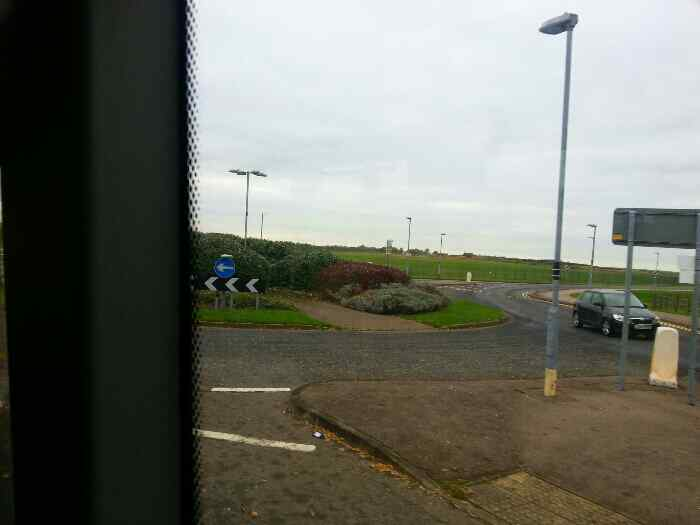 Roundabout as we approach East Midlands Airport at Hill Top Castle Donnington