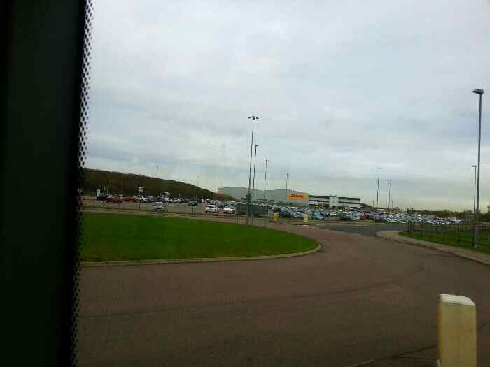 Roundabout near the DHL cargo terminal East Midlands Airport
