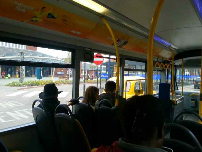 on a Skylink bus passing Derby Station