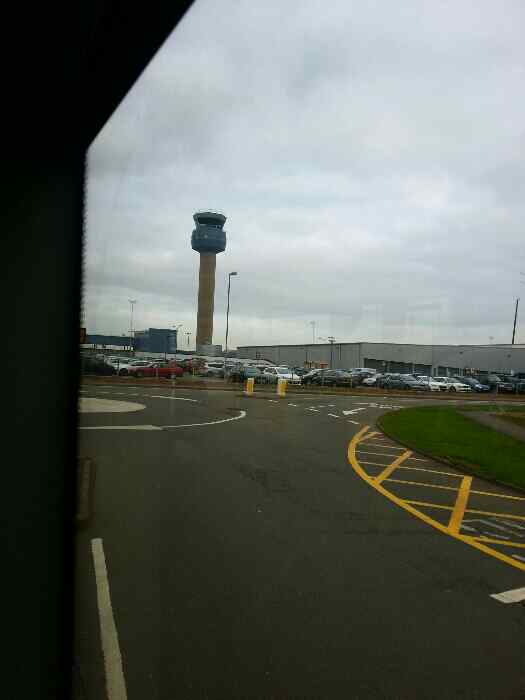 Ambassador Rd joining Viscount Rd East Midlands Airport a good view of the Control tower