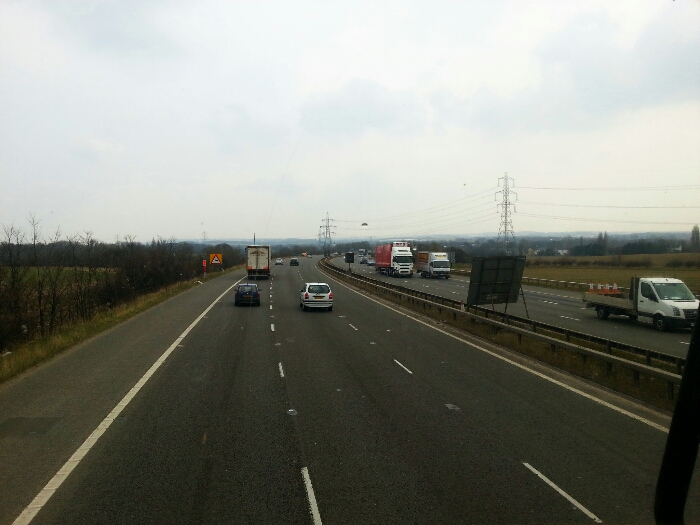 Heading east along the M62 away from Leeds.