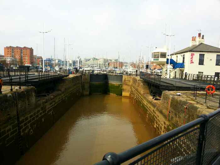 The lock taking boats into the dock from the tidal waters of the Humber Estuary