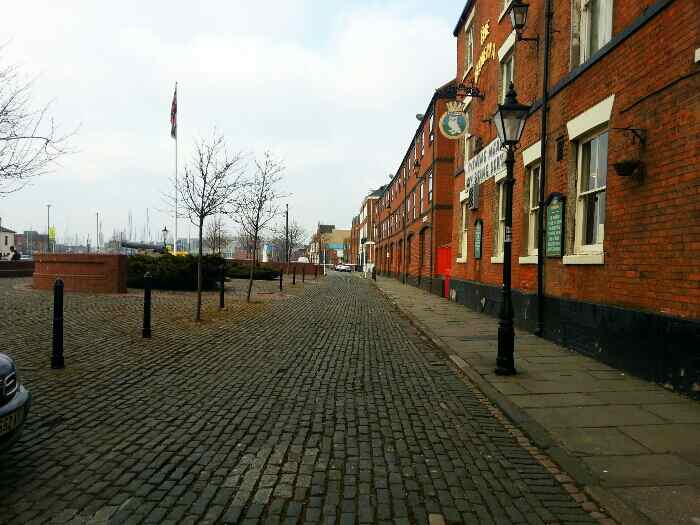 Cobbled street in the Hull docks area.