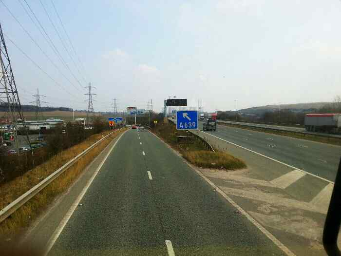 Turning off the M62 at Xscape.