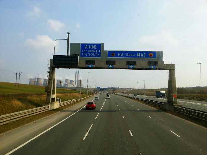 Approaching the Junction of A1M with M62