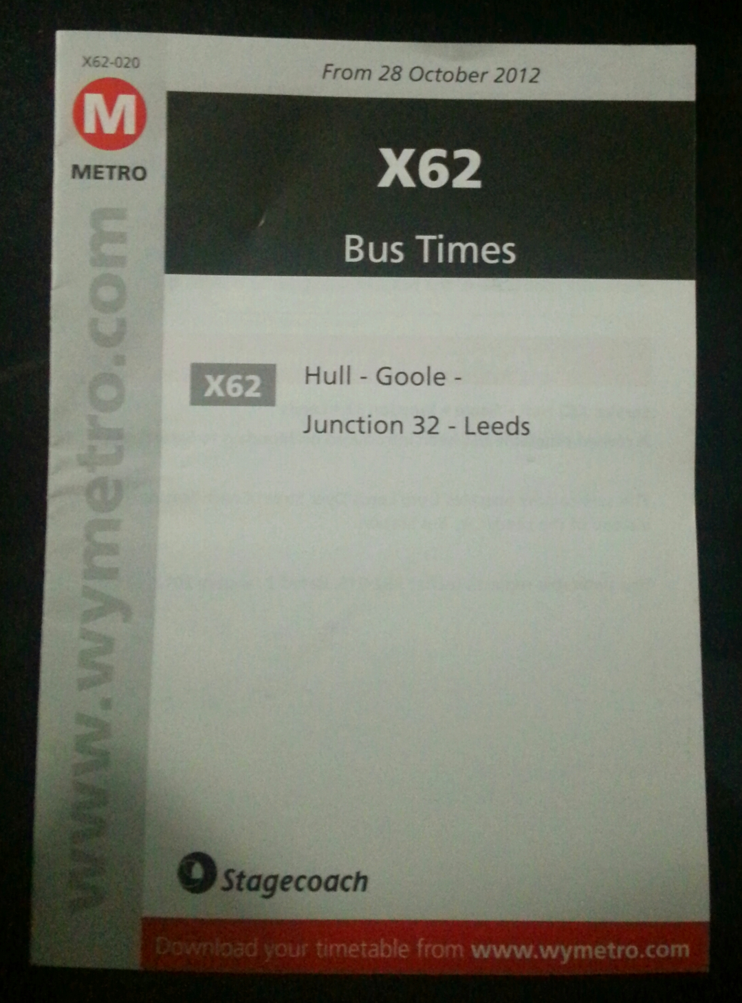Download the Stagecoach X62 Leeds Xscape Castleford Goole Brough North Ferriby Hull timetable bus times
