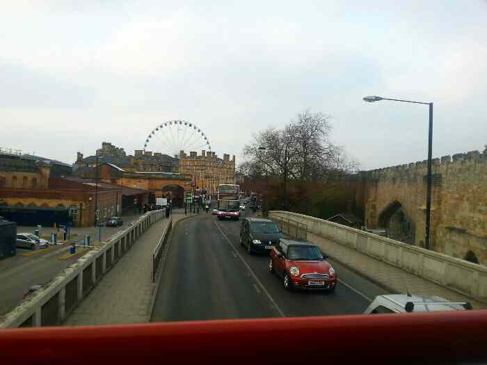 Approaching York Railway Station entrance. The York Eye can also be seen in this shot