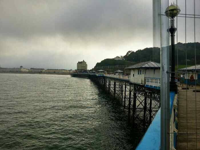 Looking back up Llandudno pier towards the grand Hotel